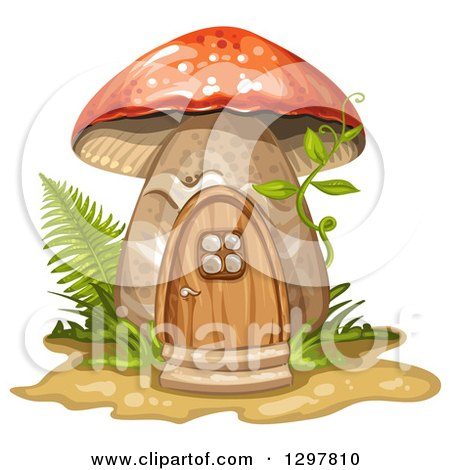 Clipart of a Red Roofed Mushroom House with Ferns, Grass and a Vine - Royalty Free Vector Illustration by merlinul