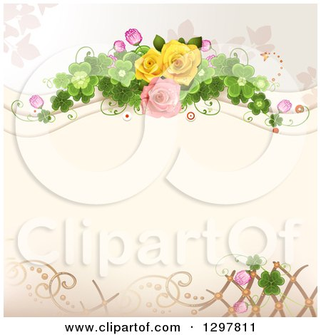 Clipart of a Floral Rose Wedding Background with Shamrock Clovers and Lattice - Royalty Free Vector Illustration by merlinul