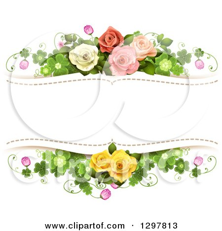 Clipart of a Floral Rose and Shamrock Clover Wedding Background with Text Space - Royalty Free Vector Illustration by merlinul