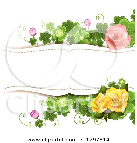 Clipart of a Floral Pink and Yellow Rose and Shamrock Clover Wedding Background with Text Space - Royalty Free Vector Illustration by merlinul