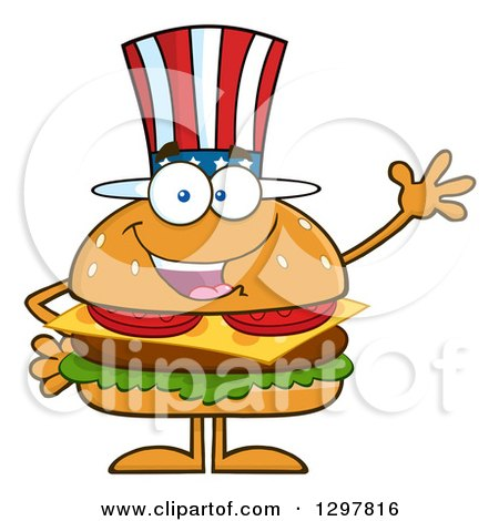 Clipart of a Cartoon American Cheeseburger Character Waving - Royalty Free Vector Illustration by Hit Toon