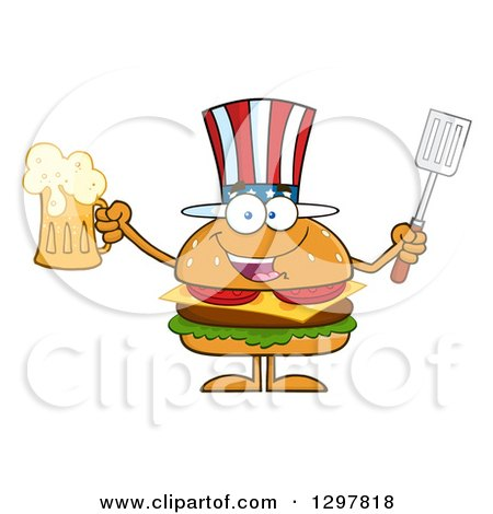 Clipart of a Cartoon American Cheeseburger Character Holding a Beer and Spatula - Royalty Free Vector Illustration by Hit Toon