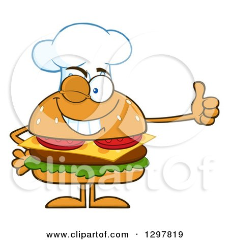 Clipart of a Cartoon Cheeseburger Chef Character Giving a Thumb up - Royalty Free Vector Illustration by Hit Toon