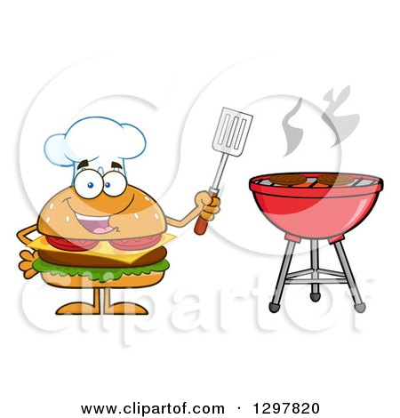 Clipart of a Cartoon Cheeseburger Chef Character Holding a Spatula by a Bbq Grill - Royalty Free Vector Illustration by Hit Toon