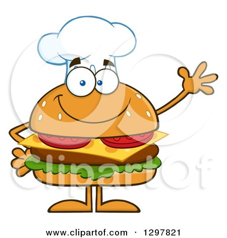 Clipart of a Cartoon Cheeseburger Chef Character Waving - Royalty Free Vector Illustration by Hit Toon