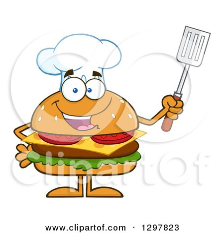 Clipart of a Cartoon Cheeseburger Chef Character Holding up a Spatula - Royalty Free Vector Illustration by Hit Toon