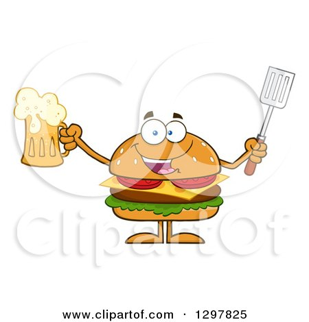 Clipart of a Cartoon Cheeseburger Character Holding a Beer and Spatula - Royalty Free Vector Illustration by Hit Toon
