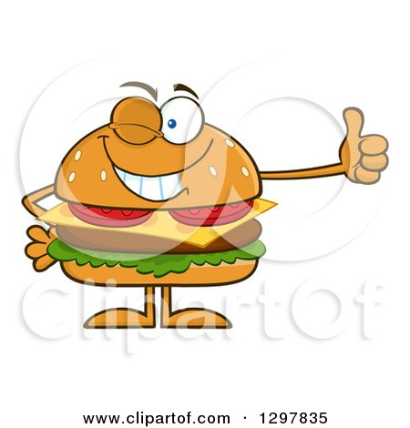 Clipart of a Cartoon Cheeseburger Character Giving a Thumb up and Winking - Royalty Free Vector Illustration by Hit Toon