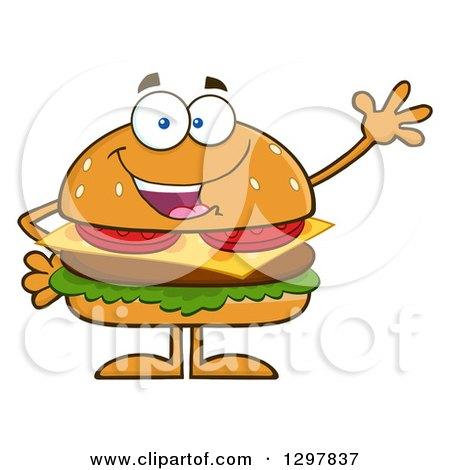 Clipart of a Cartoon Cheeseburger Character Waving - Royalty Free Vector Illustration by Hit Toon