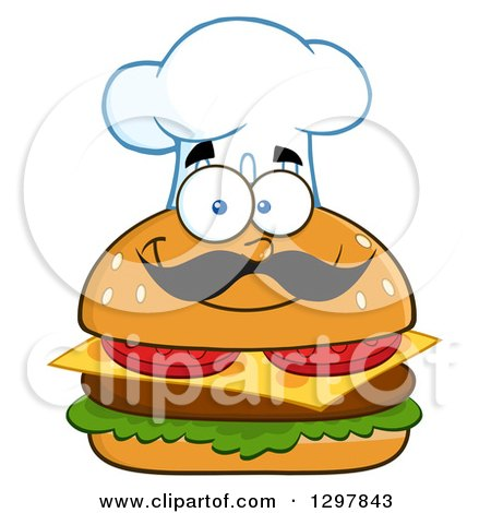 Clipart of a Cartoon Cheeseburger Chef Character Wearing a Toque Hat - Royalty Free Vector Illustration by Hit Toon