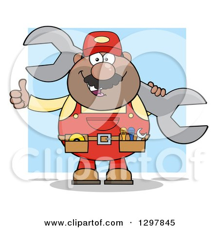 Clipart of a Cartoon Black or Hispanic Male Mechanic Wearing a Tool Belt, Giving a Thumb up and Holding a Giant Wrench over Blue - Royalty Free Vector Illustration by Hit Toon