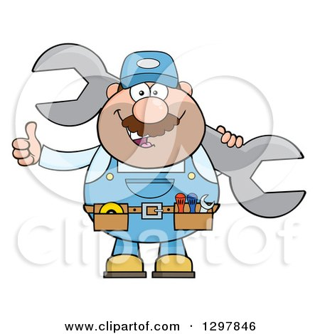 Clipart of a Cartoon White Male Mechanic Wearing a Tool Belt, Giving a Thumb up and Holding a Giant Wrench - Royalty Free Vector Illustration by Hit Toon