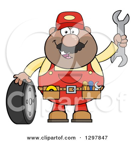 Clipart of a Cartoon Black or Hispanic Male Mechanic Wearing a Tool Belt, Waving with a Wrench and Standing with a Tire - Royalty Free Vector Illustration by Hit Toon
