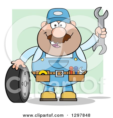 Clipart of a Cartoon White Male Mechanic Wearing a Tool Belt, Waving with a Wrench and Standing with a Tire over Green - Royalty Free Vector Illustration by Hit Toon