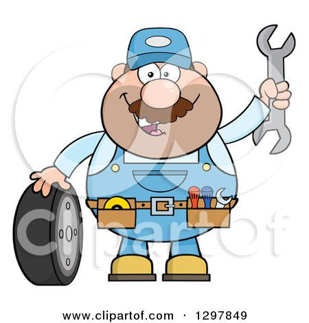 Clipart of a Cartoon White Male Mechanic Wearing a Tool Belt, Waving with a Wrench and Standing with a Tire - Royalty Free Vector Illustration by Hit Toon