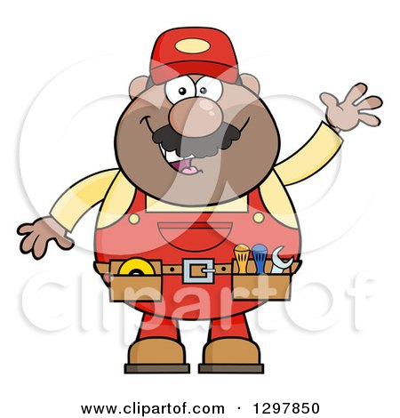 Clipart of a Cartoon Black or Hispanic Male Mechanic Wearing a Tool Belt and Waving - Royalty Free Vector Illustration by Hit Toon