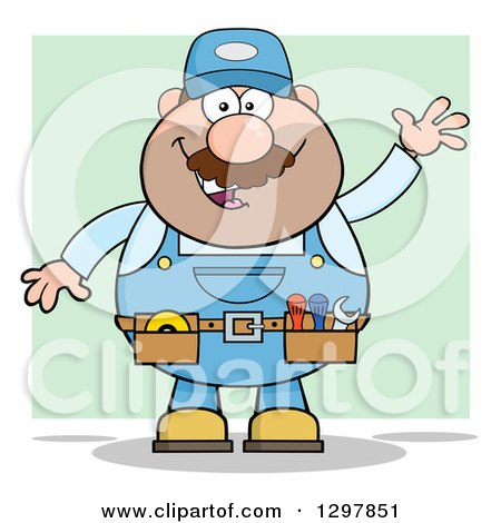 Clipart of a Cartoon White Male Mechanic Wearing a Tool Belt and Waving over Green - Royalty Free Vector Illustration by Hit Toon