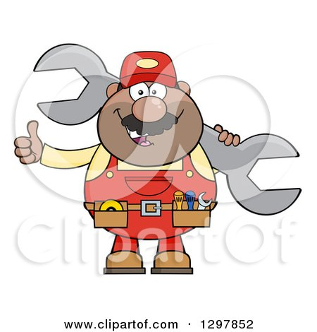 Clipart of a Cartoon Black or Hispanic Male Mechanic Wearing a Tool Belt, Giving a Thumb up and Holding a Giant Wrench - Royalty Free Vector Illustration by Hit Toon