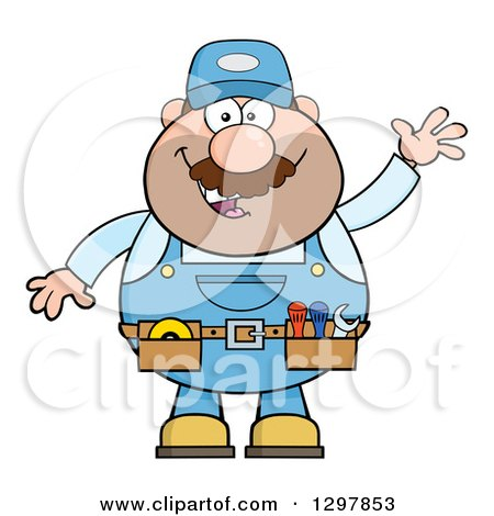 Clipart of a Cartoon White Male Mechanic Wearing a Tool Belt and Waving - Royalty Free Vector Illustration by Hit Toon