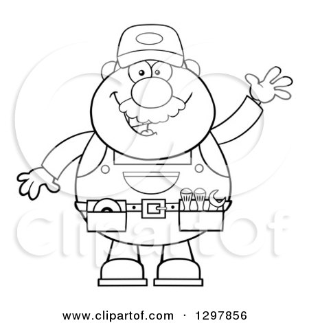 Clipart of a Cartoon Black and White Male Mechanic Wearing a Tool Belt and Waving - Royalty Free Vector Illustration by Hit Toon