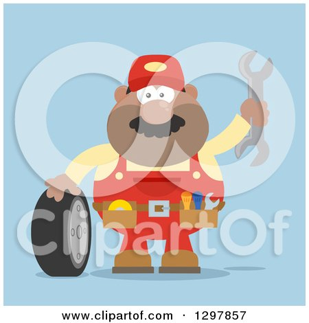 Clipart of a Cartoon Flat Design Black or Hispanic Male Mechanic Wearing a Tool Belt, Waving with a Wrench and Standing with a Tire over Blue - Royalty Free Vector Illustration by Hit Toon