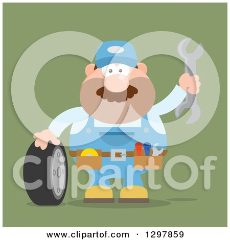 Clipart of a Cartoon Flat Design White Male Mechanic Wearing a Tool Belt, Waving with a Wrench and Standing with a Tire over Green - Royalty Free Vector Illustration by Hit Toon