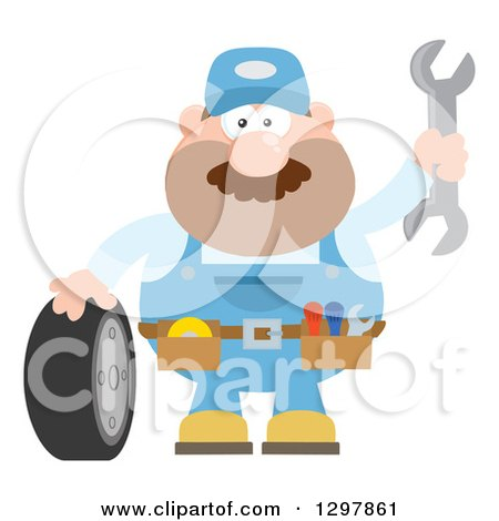 Clipart of a Cartoon Flat Design White Male Mechanic Wearing a Tool Belt, Waving with a Wrench and Standing with a Tire - Royalty Free Vector Illustration by Hit Toon