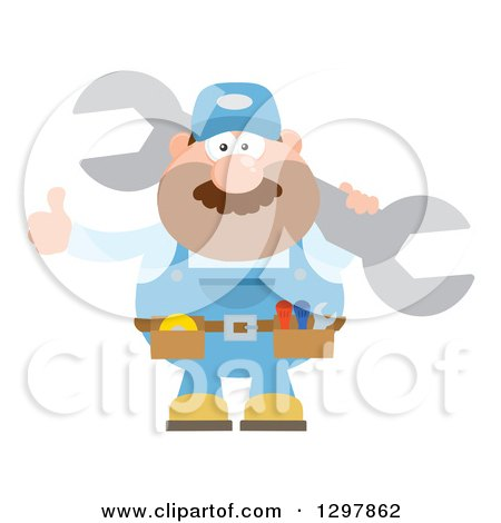 Clipart of a Cartoon Flat Design White Male Mechanic Wearing a Tool Belt, Giving a Thumb up and Holding a Giant Wrench - Royalty Free Vector Illustration by Hit Toon