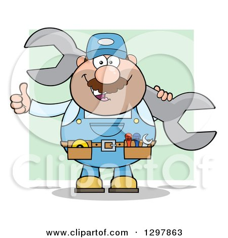 Clipart of a Cartoon White Male Mechanic Wearing a Tool Belt, Giving a Thumb up and Holding a Giant Wrench over Green - Royalty Free Vector Illustration by Hit Toon