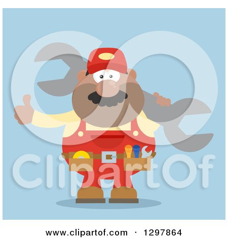 Clipart of a Cartoon Flat Design Black or Hispanic Male Mechanic Wearing a Tool Belt, Giving a Thumb up and Holding a Giant Wrench over Blue - Royalty Free Vector Illustration by Hit Toon