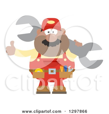 Clipart of a Cartoon Flat Design Black or Hispanic Male Mechanic Wearing a Tool Belt, Giving a Thumb up and Holding a Giant Wrench - Royalty Free Vector Illustration by Hit Toon