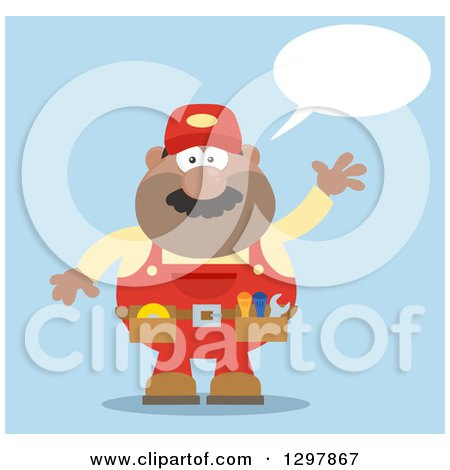 Clipart of a Cartoon Flat Design Black or Hispanic Male Mechanic Wearing a Tool Belt, Talking and Waving over Blue - Royalty Free Vector Illustration by Hit Toon
