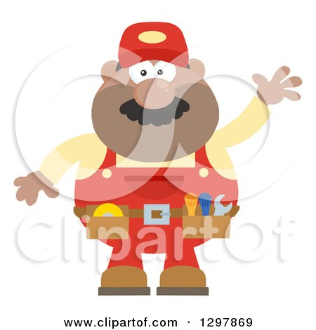 Clipart of a Cartoon Flat Design Black or Hispanic Male Mechanic Wearing a Tool Belt and Waving - Royalty Free Vector Illustration by Hit Toon