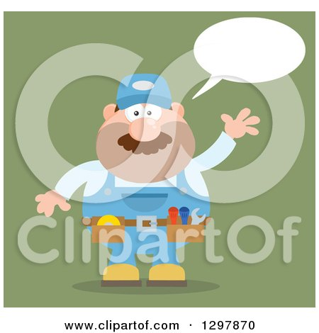 Clipart of a Cartoon Flat Design White Male Mechanic Wearing a Tool Belt, Talking and Waving over Green - Royalty Free Vector Illustration by Hit Toon