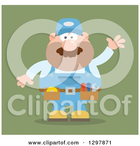 Clipart of a Cartoon Flat Design White Male Mechanic Wearing a Tool Belt and Waving over Green - Royalty Free Vector Illustration by Hit Toon