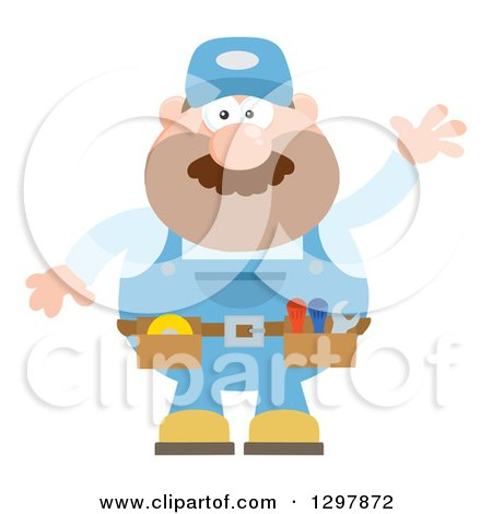 Clipart of a Cartoon Flat Design White Male Mechanic Wearing a Tool Belt and Waving - Royalty Free Vector Illustration by Hit Toon