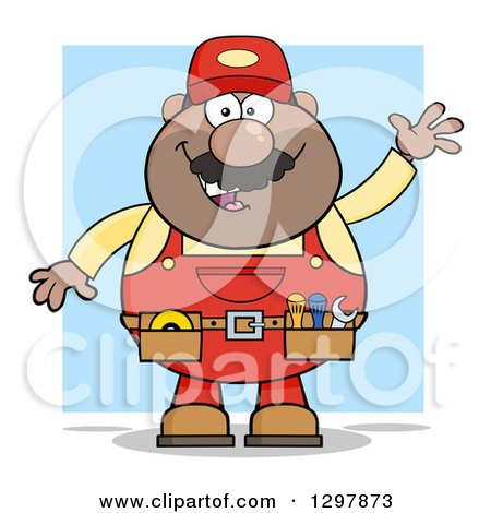 Clipart of a Cartoon Black or Hispanic Male Mechanic Wearing a Tool Belt and Waving over Blue - Royalty Free Vector Illustration by Hit Toon