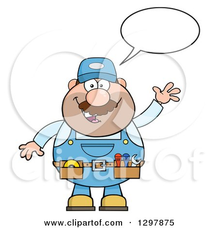 Clipart of a Cartoon White Male Mechanic Wearing a Tool Belt, Talking and Waving - Royalty Free Vector Illustration by Hit Toon