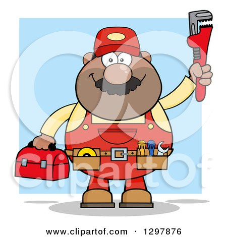 Clipart of a Cartoon Black or Hispanic Male Plumber Wearing a Tool Belt and Holding up a Monkey Wrench over Blue - Royalty Free Vector Illustration by Hit Toon
