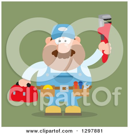 Clipart of a Cartoon Flat Design White Male Plumber Wearing a Tool Belt and Holding up a Monkey Wrench over Green - Royalty Free Vector Illustration by Hit Toon