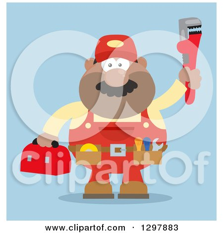 Clipart of a Cartoon Flat Design Black or Hispanic Male Plumber Wearing a Tool Belt and Holding up a Monkey Wrench over Blue - Royalty Free Vector Illustration by Hit Toon