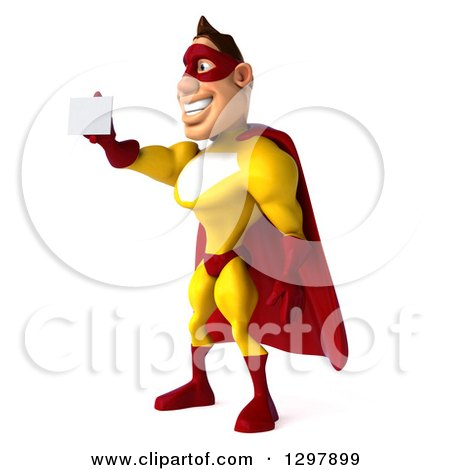 Clipart of a 3d Muscular Yellow and Red Super Hero Man Facing Left and Holding out a Business Card - Royalty Free Illustration by Julos
