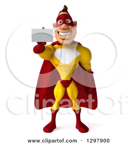 Clipart of a 3d Muscular Yellow and Red Super Hero Man Holding out a Business Card - Royalty Free Illustration by Julos