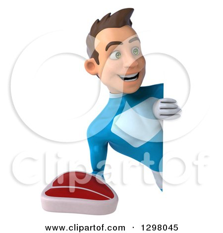 Clipart of a 3d Young Brunette White Male Super Hero in a Blue Suit, Holding a Beef Steak Around a Sign - Royalty Free Illustration by Julos