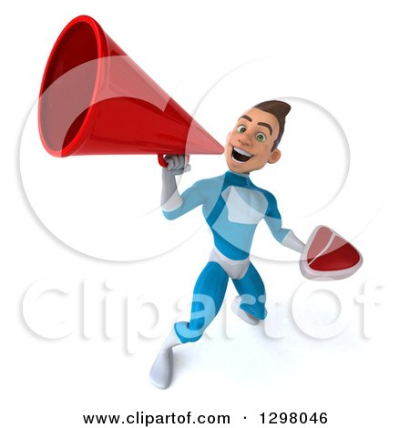 Clipart of a 3d Young Brunette White Male Super Hero in a Blue Suit, Holding a Beef Steak and Announcing Upwards with a Megaphone - Royalty Free Illustration by Julos