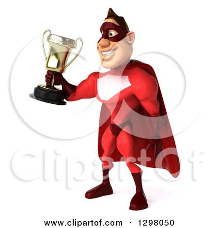 Clipart of a 3d Caucasian Red Super Hero Man Facing Left and Holding out a Trophy - Royalty Free Illustration by Julos