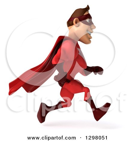 Clipart of a 3d Caucasian Red Super Hero Man Running to the Right - Royalty Free Illustration by Julos