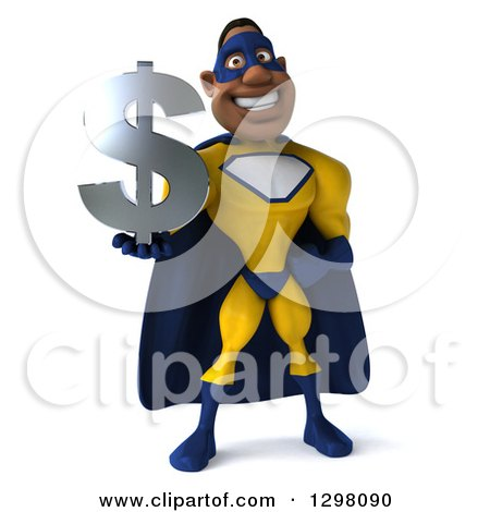 Clipart of a 3d Muscular White Male Super Hero in a Yellow and Blue Suit, Holding a Dollar Currency Symbol - Royalty Free Illustration by Julos