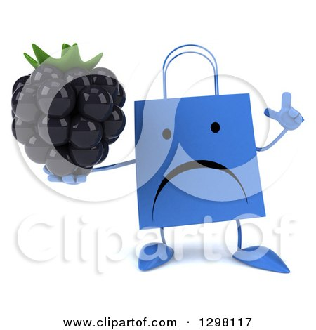 Clipart of a 3d Unhappy Blue Shopping or Gift Bag Character Holding up a Finger and a Blackberry - Royalty Free Illustration by Julos