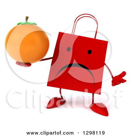Clipart of a 3d Unhappy Red Shopping or Gift Bag Character Shrugging and Holding an Orange - Royalty Free Illustration by Julos